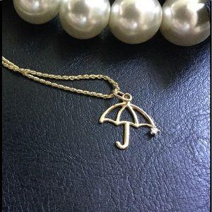 Jewelry - 14K Umbrella Charm with Diamond Rain Drop